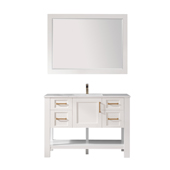 Grayson 48'' Single Vanity Set In White With Artificial Fine White Stone Countertop And Mirror, 48''W X 22''D X 33-7/8''H,