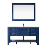 Grayson 60'' Double Vanity Set In Jewelry Blue With Artificial Fine White Stone Countertop And Mirror, 60''W X 22''D X 33-7/8''H,