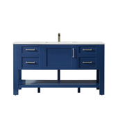 Grayson 60'' Double Vanity Set In Jewelry Blue With Artificial Fine White Stone Countertop, 60''W X 22''D X 33-7/8''H,