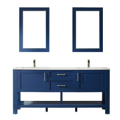 Grayson 72'' Double Vanity Set In Jewelry Blue With Artificial Fine White Stone Countertop And Mirror, 72''W X 22''D X 33-7/8''H,