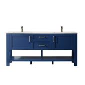 Grayson 72'' Double Vanity Set In Jewelry Blue With Artificial Fine White Stone Countertop, 72''W X 22''D X 33-7/8''H,