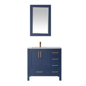 Shannon 36'' Single Vanity Set In Royal Blue With Artificial Fine White Stone Countertop And Mirror, 36''W X 22''D X 33-7/8''H,