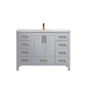 Shannon 48'' Single Vanity Set In Paris Grey With Artificial Fine White Stone Countertop, 48''W X 22''D X 33-7/8''H,