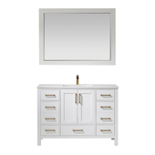 Shannon 48'' Single Vanity Set In White With Artificial Fine White Stone Countertop And Mirror, 48''W X 22''D X 33-7/8''H,
