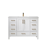 Shannon 48'' Single Vanity Set In White With Artificial Fine White Stone Countertop, 48''W X 22''D X 33-7/8''H,