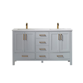 Shannon 60'' Double Vanity Set Set In Paris Grey With Artificial Fine White Stone Countertop, 60''W X 22''D X 33-7/8''H,