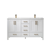 Shannon 60'' Double Vanity Set Set In White With Artificial Fine White Stone Countertop, 60''W X 22''D X 33-7/8''H,