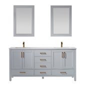 Shannon 72'' Double Vanity Set Set In Paris Grey With Artificial Fine White Stone Countertop And Mirror, 72''W X 22''D X 33-7/8''H,