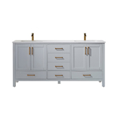 Shannon 72'' Double Vanity Set Set In Paris Grey With Artificial Fine White Stone Countertop, 72''W X 22''D X 33-7/8''H,