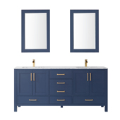 Shannon 72'' Double Vanity Set Set In Royal Blue With Artificial Fine White Stone Countertop And Mirror, 72''W X 22''D X 33-7/8''H,