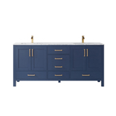 Shannon 72'' Double Vanity Set In Royal Blue With Artificial Fine White Stone Countertop, 72''W X 22''D X 33-7/8''H,