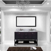 Winterfell 60'' Double Bathroom Vanity Set in Espresso, Italian Carrara White Marble Top with Square Sinks, Mirror Included