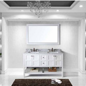 Winterfell 60'' Double Bathroom Vanity Set in White, Italian Carrara White Marble Top with Square Sinks, Mirror Included