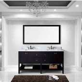 Winterfell 72'' Double Bathroom Vanity Set in Espresso, Italian Carrara White Marble Top with Square Sinks, Faucets Available in 2 Finishes, Mirror Included