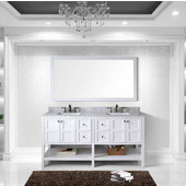 Winterfell 72'' Double Bathroom Vanity Set in White, Italian Carrara White Marble Top with Square Sinks, Faucets Available in 2 Finishes, Mirror Included