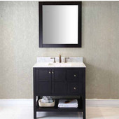 Winterfell 36'' Single Bathroom Vanity Set in Espresso, Italian Carrara White Marble Top with Square Sink, Available with Optional Faucet, Mirror Included