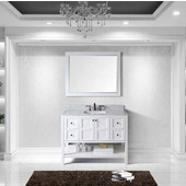 Winterfell 48'' Single Bathroom Vanity Set in White, Italian Carrara White Marble Top with Square Sink, Available with Optional Faucet & Mirror