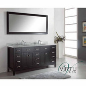 Caroline Parkway 72'' Double Bathroom Vanity Set in Espresso, Italian Carrara White Marble Top with Round Sinks, Available with Optional Faucets, Mirror Included