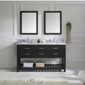 Caroline Estate 60'' Double Bathroom Vanity Set in Espresso, Italian Carrara White Marble Top with Round Sinks, Available with Optional Faucets, Double Mirrors Included