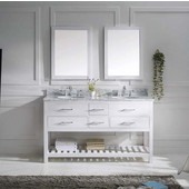 Caroline Estate 60'' Double Bathroom Vanity Set in White, Italian Carrara White Marble Top with Round Sinks, Available with Optional Faucets, Double Mirrors Included