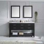 Caroline Estate 60'' Double Bathroom Vanity Set in Espresso, Italian Carrara White Marble Top with Square Sinks, Available with Optional Faucets, Double Mirrors Included