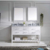Caroline Estate 60'' Double Bathroom Vanity Set in White, Italian Carrara White Marble Top with Square Sinks, Available with Optional Faucets, Double Mirrors Included