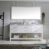 Caroline Estate 72'' Double Bathroom Vanity Set in White, Italian Carrara White Marble Top with Round Sinks, Single Available with Optional Faucets, Mirror Included