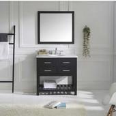 Caroline Estate 36'' Single Bathroom Vanity Set in Espresso, Dazzle White Quartz Top with Round Sink, Polished Chrome Faucet, Mirror Included