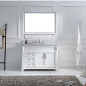 Victoria 48'' Single Bathroom Vanity Set in White, Italian Carrara White Marble Top with Round Sink, Available with Optional Faucet, Mirror Included