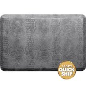 Croc Collection 3' x 2' Anti-Fatigue Floor Mat in Slate with Burnished Nickel on Gray Base, 36'' W x 24'' D x 3/4'' Thick