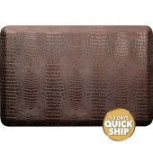 Croc Collection 3' x 2' Anti-Fatigue Floor Mat in Antique Dark with Brown Base, 36'' W x 24'' D x 3/4'' Thick