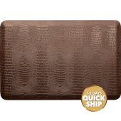 Croc Collection 3' x 2' Anti-Fatigue Floor Mat in Antique Light with Tan Base, 36'' W x 24'' D x 3/4'' Thick