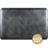 Linen Collection 3' x 2' Anti-Fatigue Floor Mat in Onyx with Burnished Nickel on Black Base, 36'' W x 24'' D x 3/4'' Thick