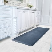 Linen Collection 6' x 2' Anti-Fatigue Floor Mat in Lagoon with Blue on Gray Base, 72'' W x 24'' D x 3/4'' Thick