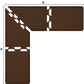 Original Collection PuzzlePiece L Series 6' x 6' x 2' Anti-Fatigue Floor Mat in Brown, 72'' W x 24'' D, 3/4'' Thick