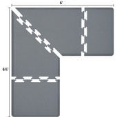 Original Collection PuzzlePiece L Series 6.5' x 6' x 3' Anti-Fatigue Floor Mat in Gray, 78'' W x 36'' D, 3/4'' Thick