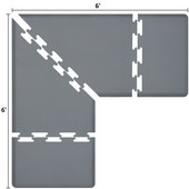 Original Collection PuzzlePiece L Series 6' x 6' x 3' Anti-Fatigue Floor Mat in Gray, 72'' W x 36'' D, 3/4'' Thick