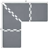 Original Collection PuzzlePiece L Series 7' x 7' x 3' Anti-Fatigue Floor Mat in Gray, 84'' W x 36'' D, 3/4'' Thick