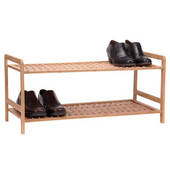 Wood 2 Tier Shoe Rack/Basketweave in Bamboo
