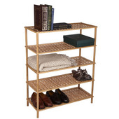 Wood 5 Tier Shoe Rack/Basketweave in Bamboo