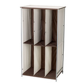 Freestanding Boot Organizer With Metal Frame And Fabric Cubbies in Natural/Brown
