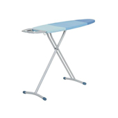 Steel Top Tri-Leg Ironing Board with Blue Cover, Foam Pad, and Iron Rest, 45''W x 13''D x 35-3/8''H