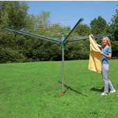 Linomatic 500 Deluxe 164' Drying Umbrella Clothesline in Stainless/Green