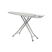 Solid Aluminum Frame Ironing Board with Iron Rest, Hanging Bar and Steel Top with Chevron Patterned Cover, 48-1/2''W x 15-3/4''D x 37-3/8''H