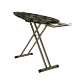 Collapsible and Adjustable Ironing Board with Extra Thick Foam Pad, Black and Gold Cover, Iron Rest and Hanging Board, 51''W x 18-1/2''D x 36-1/2''H