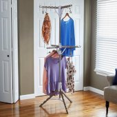 2-Tier Tripod Floor Standing Clothes Dryer with Stainless Steel Clad Pole, Plastic Legs/Arms, 6 Arms Holds Up to 72 Hangers, 26'' W x 26'' D x 70'' - 77-1/2'' H