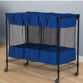 Triple Storage Bin with Black Steel Frame, Removable Bags and Casters, 35-3/8'' W x 17-3/4'' D x 32-1/2'' H