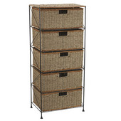 5 Drawer Unit in Seagrass/Rattan