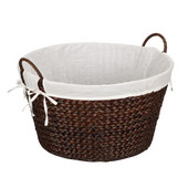 Round Banana Leaf Wicker Laundry Basket with Lining and Handles in Stained Brown, 22'' W x 20'' D x 11-1/2'' H