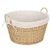 Round Banana Leaf Wicker Laundry Basket with Lining and Handles in Natural, 22'' W x 20'' D x 11-1/2'' H